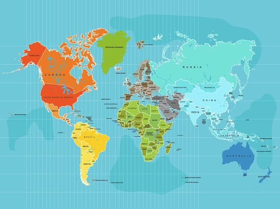 World map poster country names 11x14 other sizes travel artwork world map poster country names 11x14 other sizes travel artwork travel publicscrutiny Image collections