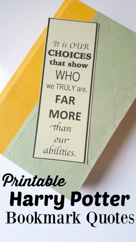 FREE Harry Potter Bookmarks Book Quotes Inspired Printable DIY
