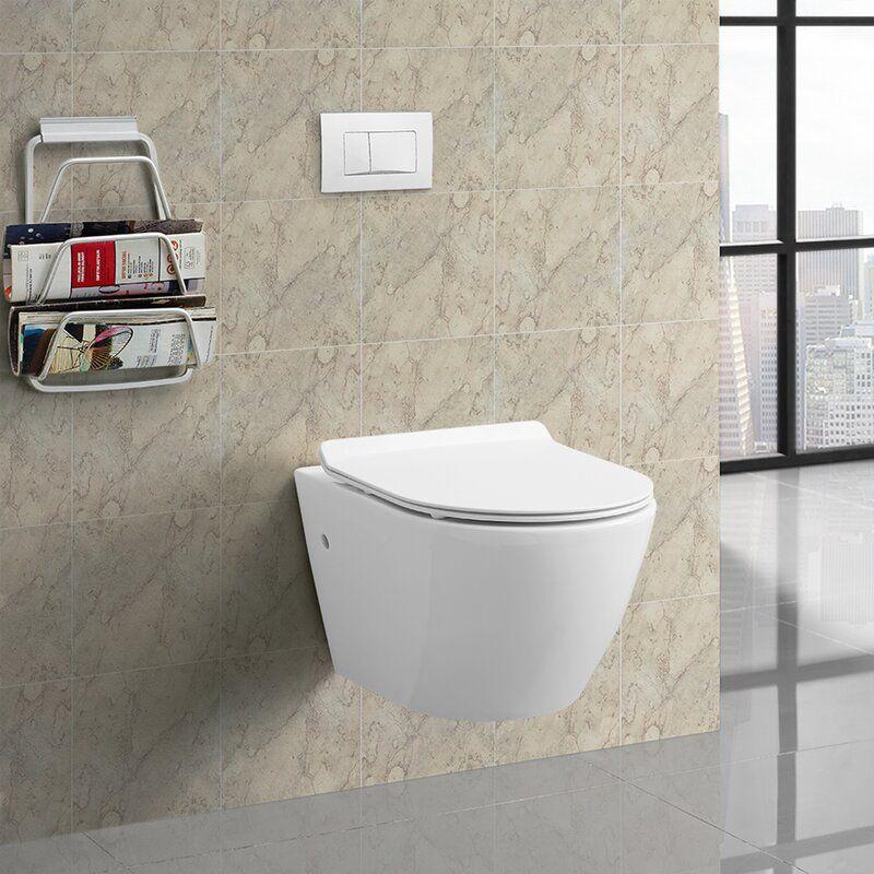 St Tropez Dual Flush Elongated Wall Mounted Toilets Seat Included In 2020 Wall Mounted Toilet Wall Hung Toilet Toilet Tank