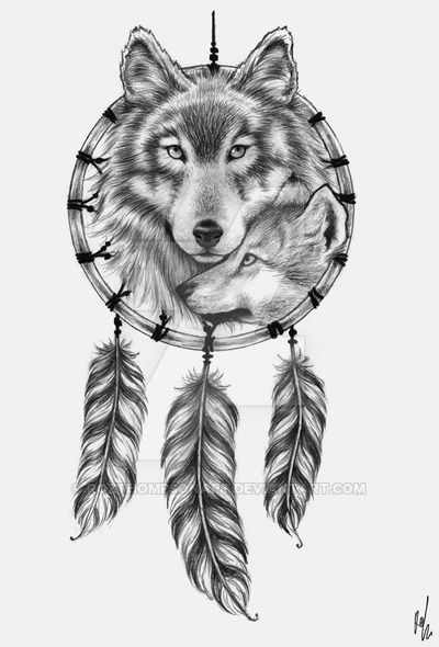 8e4cf987d952b Dreamcatcher With Fox And Wolf Head Tattoo Design | just things ...