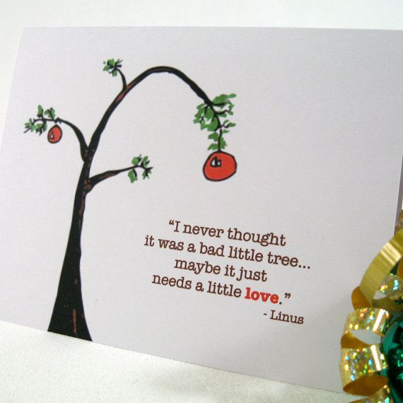 Holiday Card, Christmas Card, Charlie Brown Tree, Greeting Card ...