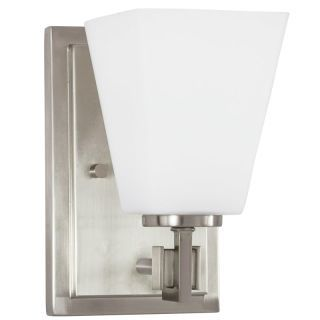 "Photo of Park Harbor PHVL2141BN Nickel Hoxton Single Light 5 ""wide bathroom lamp with frosted glass shade – LightingDirect.com"
