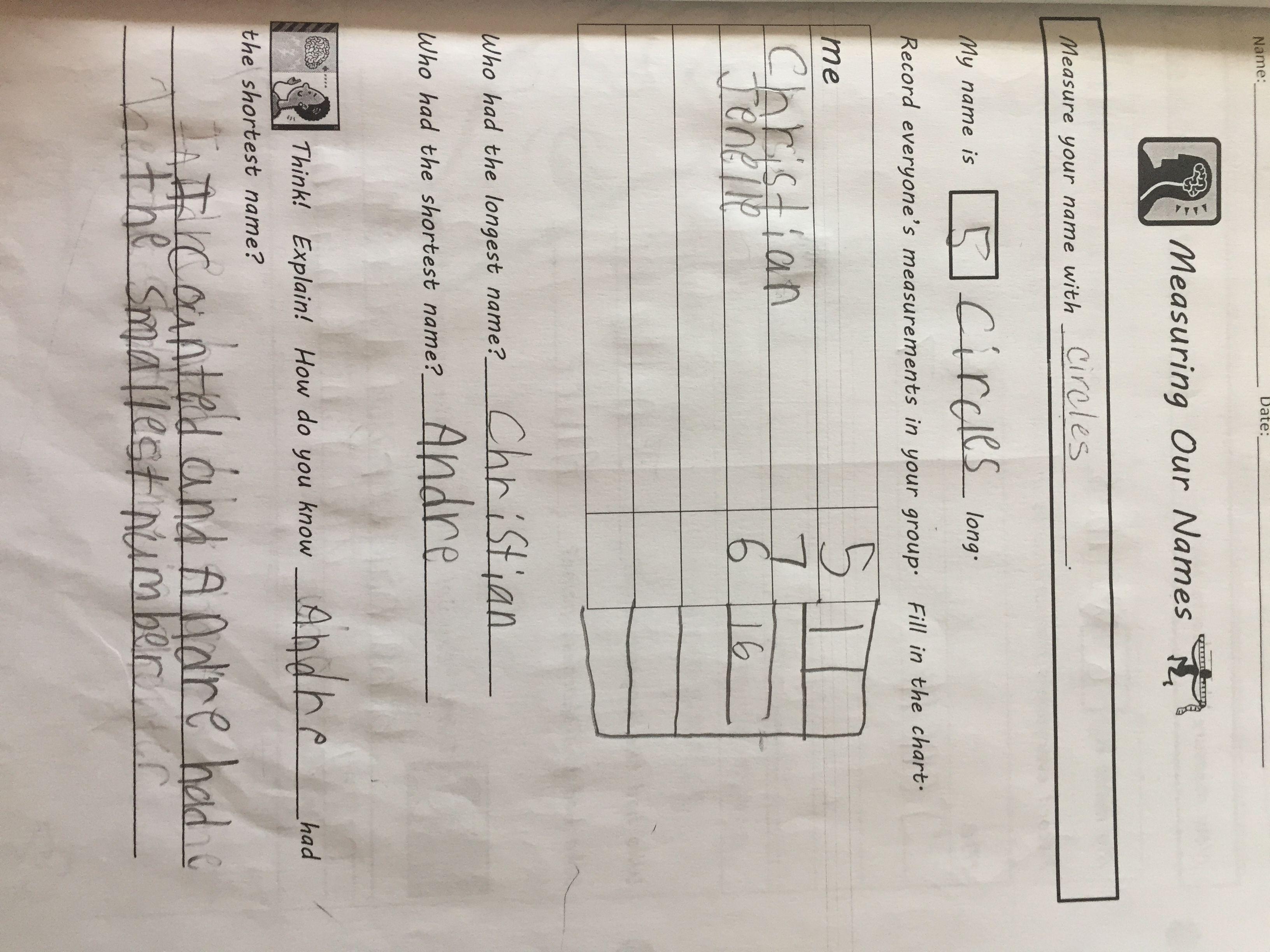 Measuring Our Names Non Standard Measurement Worksheet