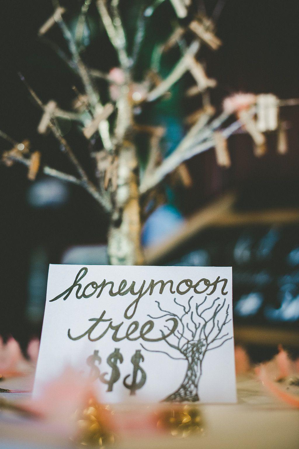honeymoon fund, money tree, blush and gold wedding, romantic wedding