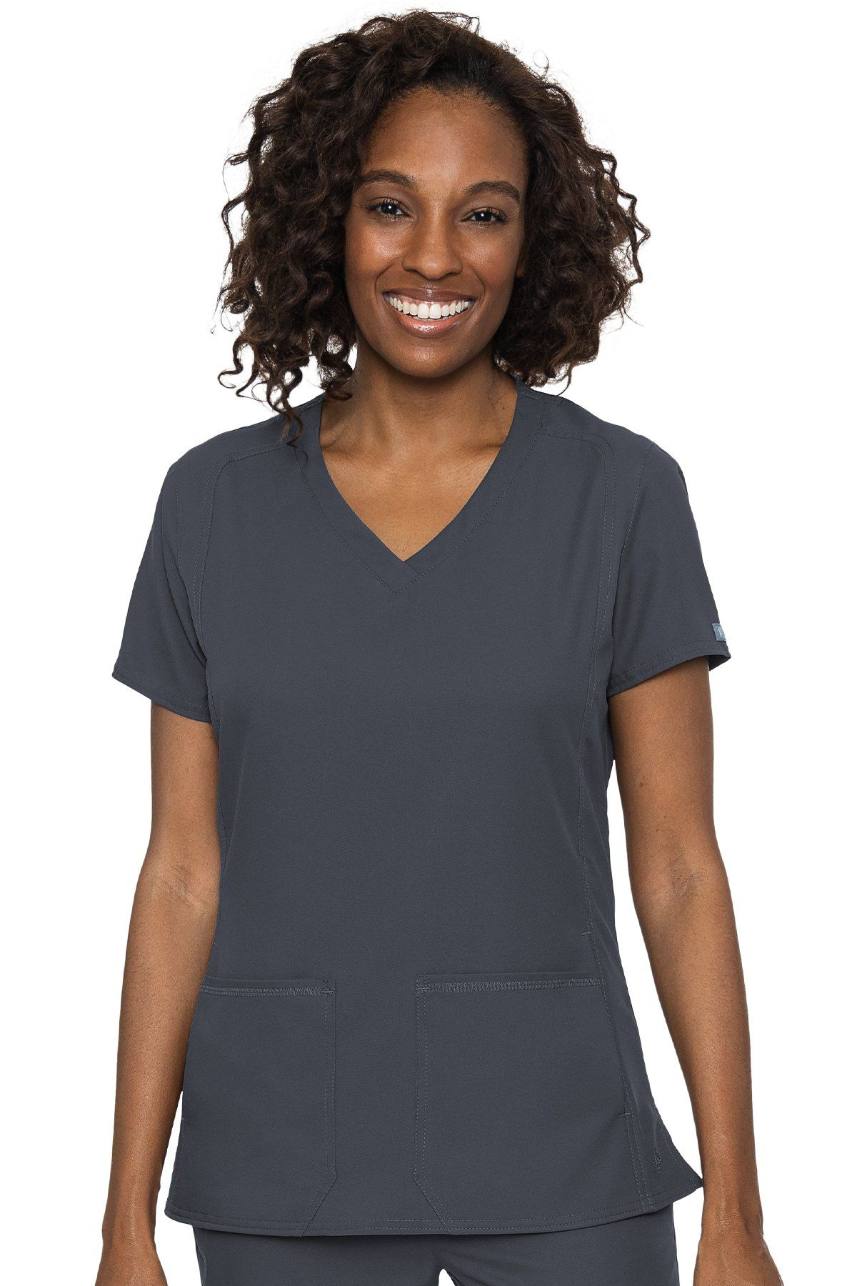 Med Couture Scrub Top Insight V-Neck Side Pocket - XL / Pewter