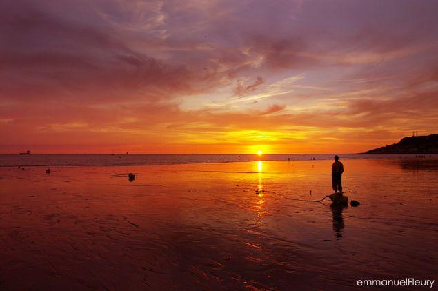 Au cr puscule un soir d 39 t plage du havre sable ciel coucher lever du soleil le havre - Palpitations le soir au coucher ...