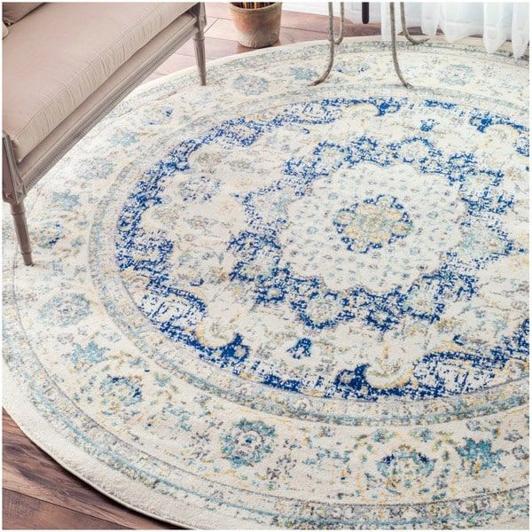Fine Round Persian Bidjar Area Rug Hand Knotted Wool And: NuLOOM Traditional Persian Vintage Blue Round Rug (5