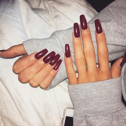 Dark Red Coffin Nails
