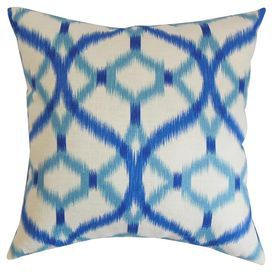 Plush Down Pillow With A Cotton Cover Showcases An Ikat Trellis Motif In Aegean Blue Turquoise And White Pro Throw Pillows The Pillow Collection Pillows