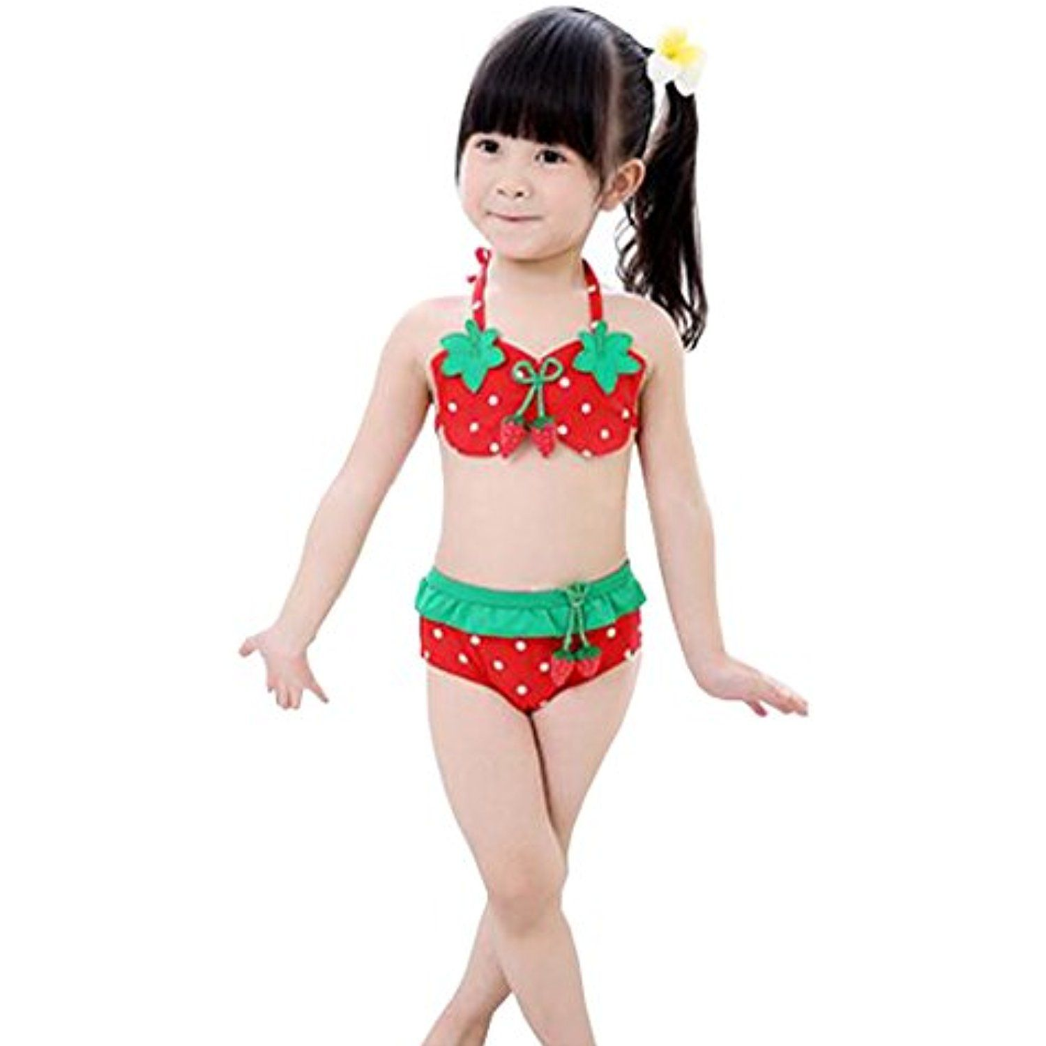 aff7bd52427 Lovely Strawberry Little Girls Swimsuit Kids Two-pieces Bikini Swimwear 5T  Red ** Find out more about the great product at the image link.