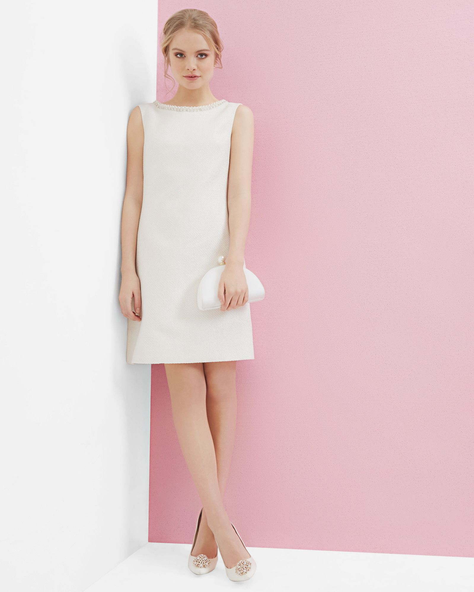 Embellished metallic bouclé dress - Ivory | Clothing | Ted Baker ...