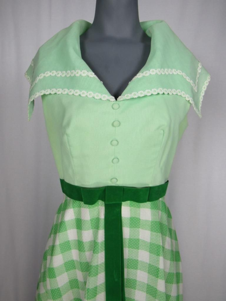 Vintage GREEN   WHITE Check Dotted Swiss Rockabilly Maxi Gown Dress DAISIES   f04ae7c7768c
