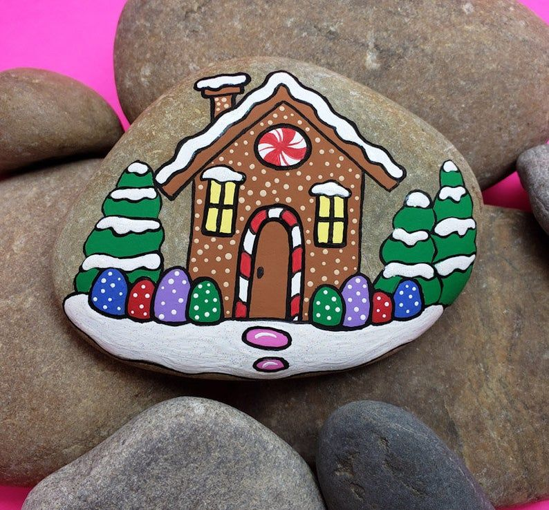Gingerbread House Painted Rock Tutorial