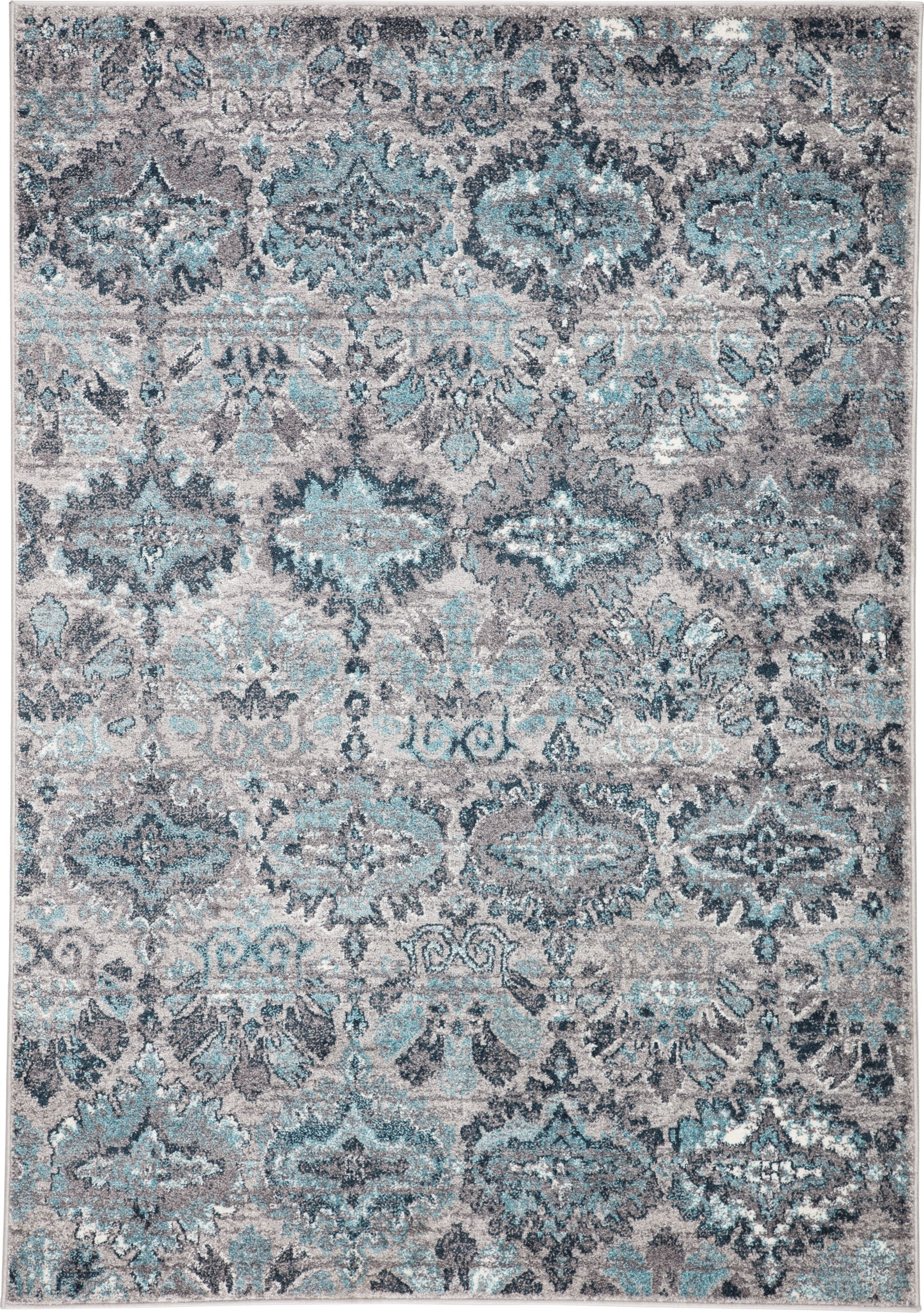 Valen Carney Rug Color Gray Turquoise Size 2 7 X 8 2 In
