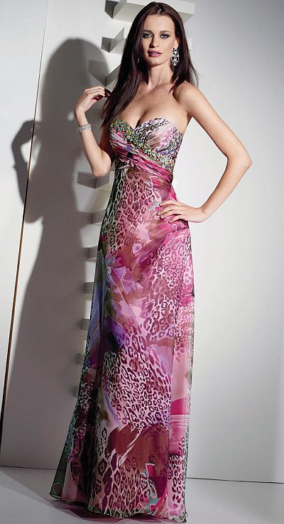 Alyce Paris Brown Fuchsia Animal Print Prom Dress 6729  c195b5246