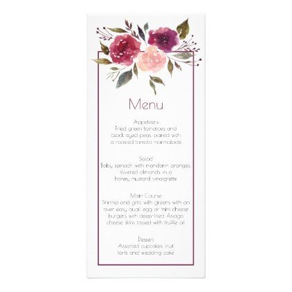 Rustic watercolor burgundy pink roses menu cards rose style gifts rustic watercolor burgundy pink roses menu cards rose style gifts diy customize special roses flowers mightylinksfo