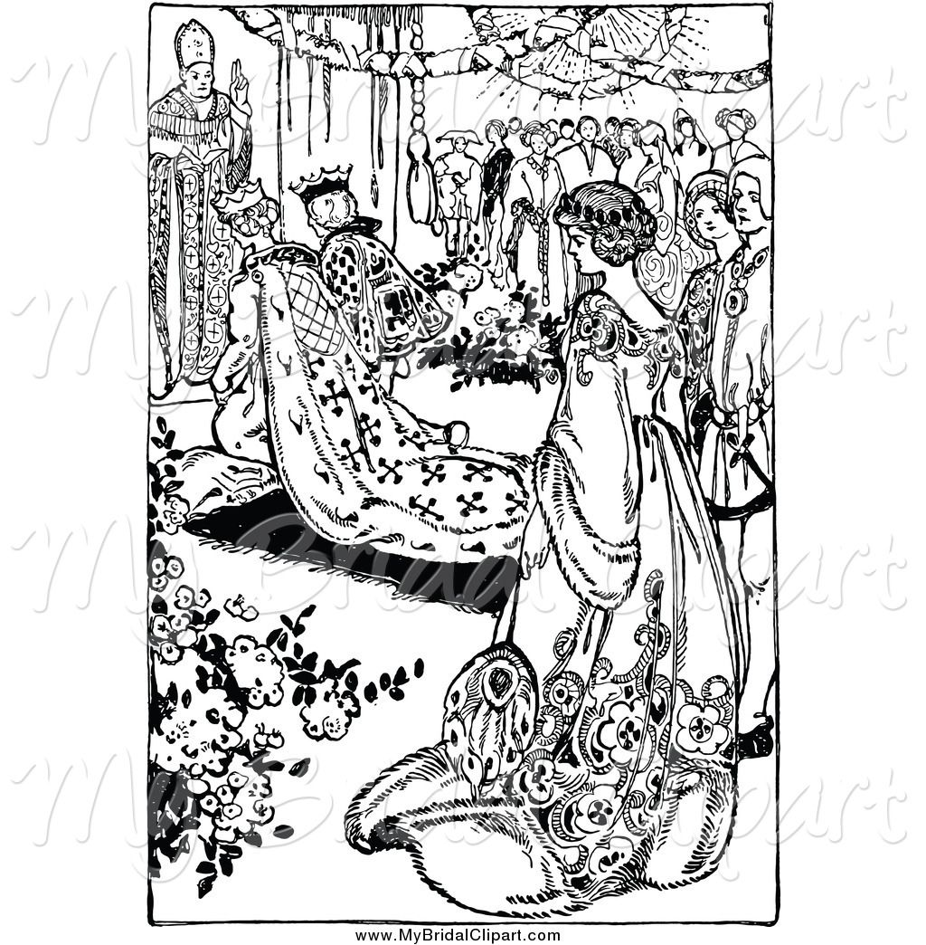 bridal clipart of a black and white medieval wedding by prawny