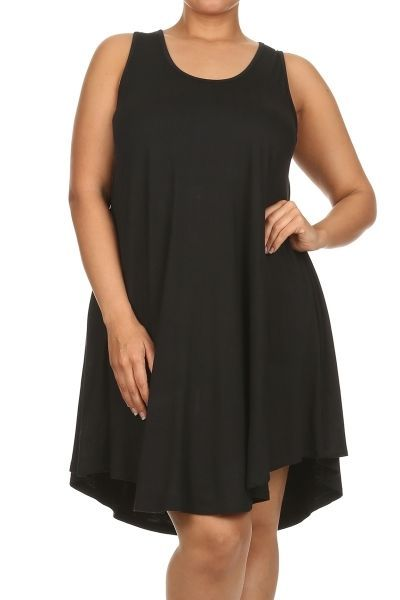 Plus Size Little Black Dress Boho Babydoll Flared Tank Tunic Mini