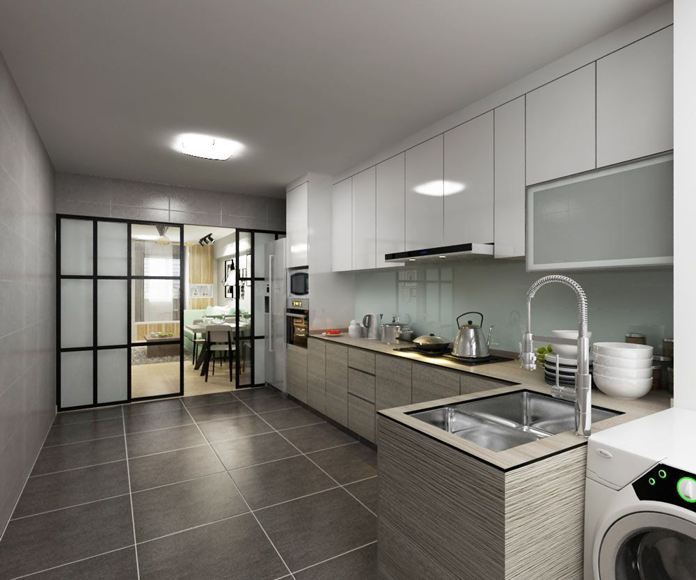 this hdb kitchen features a minimalist design swathed in neutrals like wood and white on kitchen ideas singapore id=81852