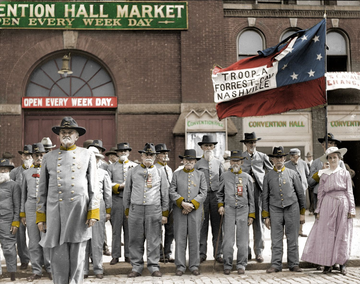 Troop A Forrest Camp, Nashville, Tennessee 1917 Confederate Veterans Reunion (colorized)