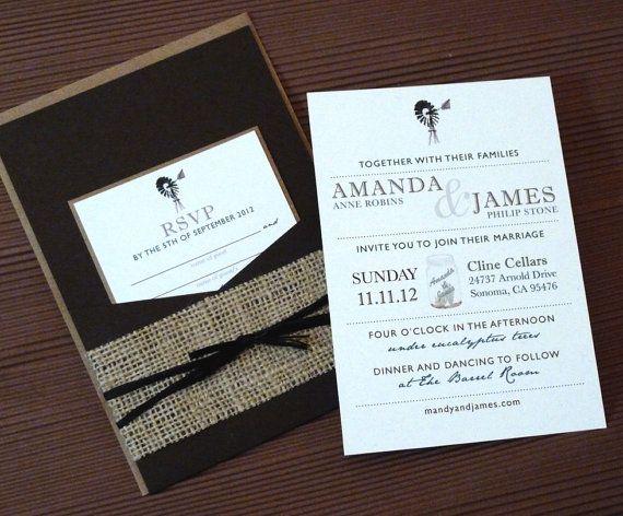 DEPOSIT for Rustic Burlap Mason Jar Windmill Pocketfold Wedding
