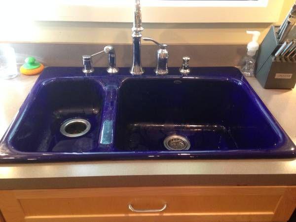 Kohler Cast Iron Sink Newer High End And Beautiful Cobalt Blue