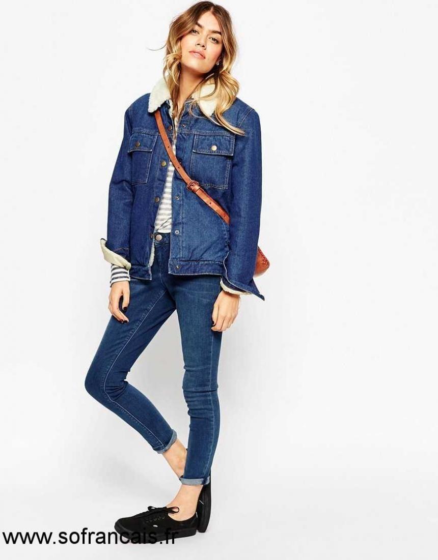 Veste jean bleu femme