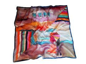 Ajándék ötletek nőknek karácsonyra - kézzel festett selyemkendők, selyemsálak