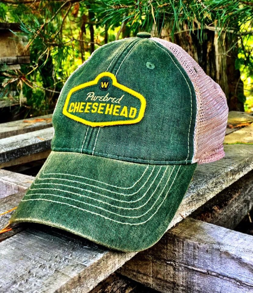 f18e98e1fede1d Purebred Cheesehead trucker hat. Available at www.WiscoStyle.com Wisconsin  hat, Green Bay Packers hat, Badgers hat, John Deere hat.