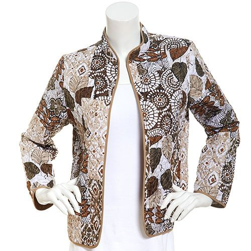 348114 Petite Alfred Dunner Classis Patch Quilt Jacket