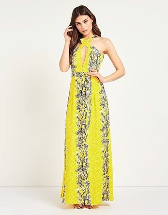 387c62afd4d Womens acid yellow boohoo wrap bodice backless floral maxi dress from Lipsy  - £25 at ClothingByColour.com