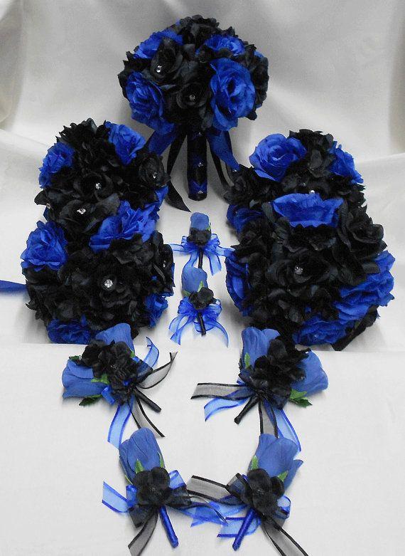 Wedding Silk Flower Bridal Bouquets Your Colors 18 pcs Package Royal ...