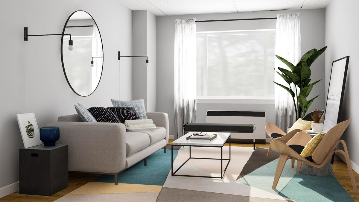 Layout Guide: A Rectangular Living Room Done Two Ways | Rectangular living rooms. Home living room. Tiny living rooms