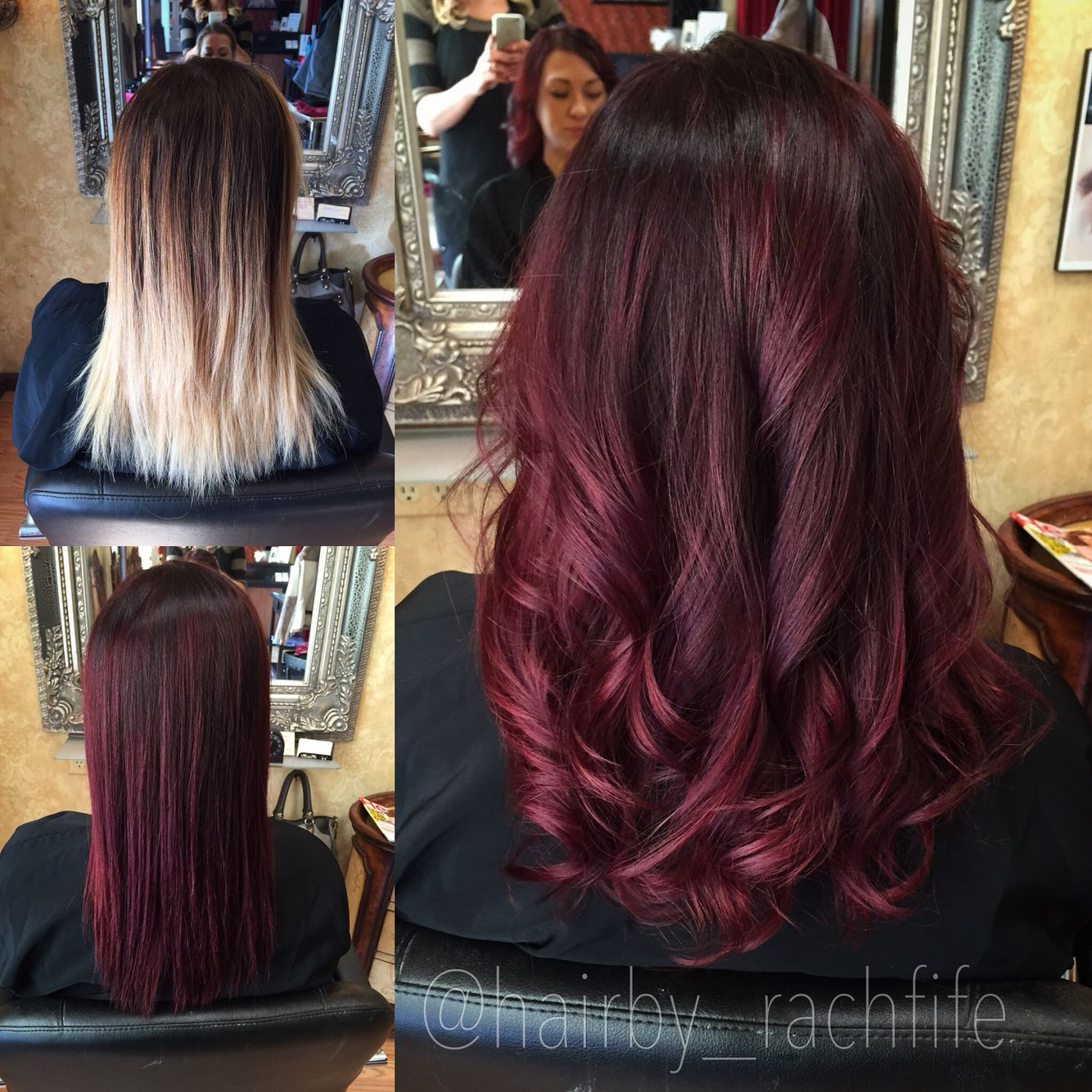 Amazing Before And After From Blonde To Red Custom Color Melt Created Using Redken Chromatics And Shades Eq Cream Love Wine Hair Burgundy Hair Red Hair Color