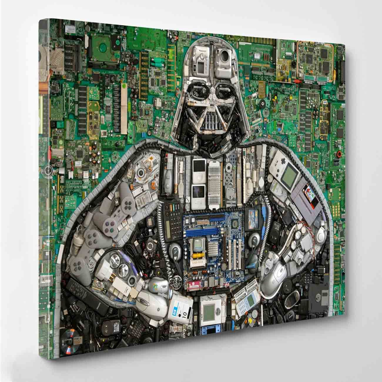 Darth Vader Mosaic Canvas Print By Perioddesign On Etsy Stuff To Pcb Sculptures Artist Upcycles Old Circuit Boards Into Art