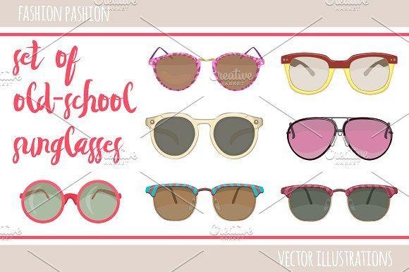 777560652d2 Set of 18 hipster sunglasses. by Natalka Dmitrova on  creativemarket summer  stylish sun fashion
