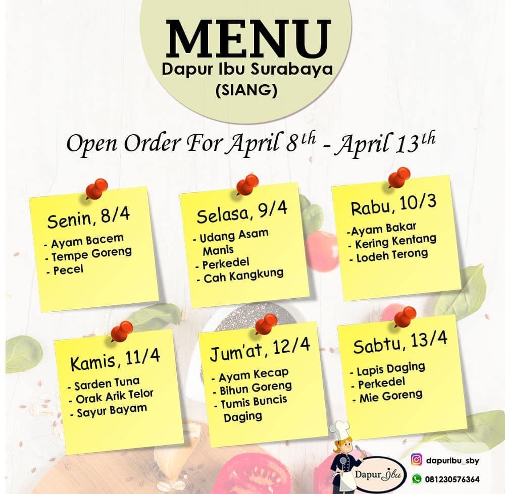 Menu Catering Harian Periode 8 13 April 2019 Join Catering Harian Dapuribu Sby Yuk Menu Catering Harian Perio Catering Menu Forex Trading Strategies