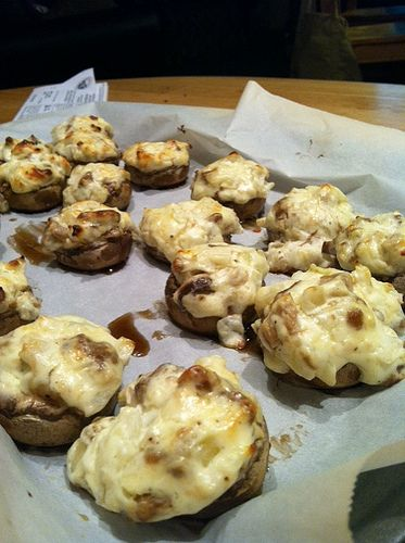 Low carb: Sausage and cheese stuffed mushrooms. REALLY.