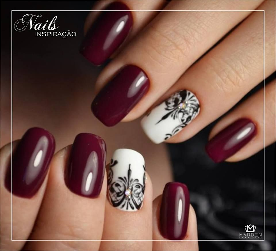 Bordo + filha única | Nails Design | Pinterest | Red nails, Manicure ...