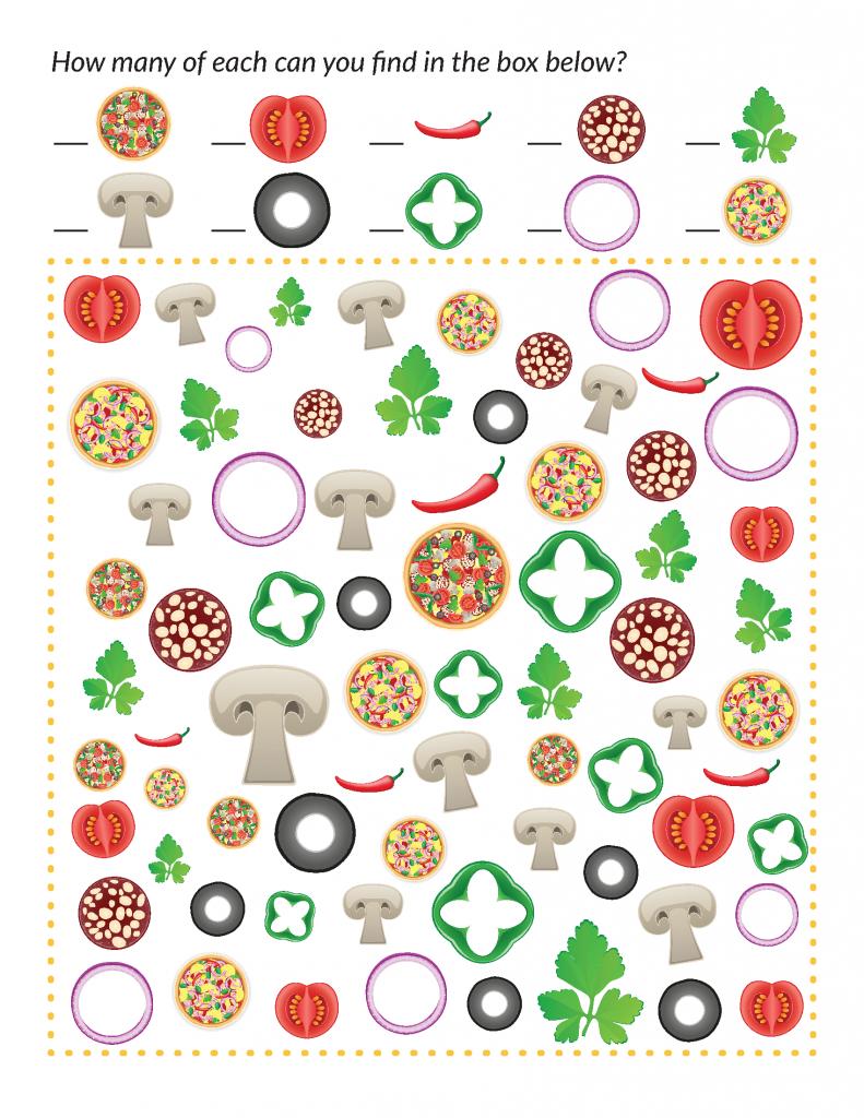 Pizza I Spy Fun Worksheets For Kids Easy Preschool Crafts Free Preschool Printables [ 1024 x 791 Pixel ]