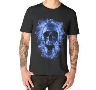 5951e15b21ca Skull in Blue Fire T-Shirt | Graphic T-Shirt | Skulls T-Shirts ...