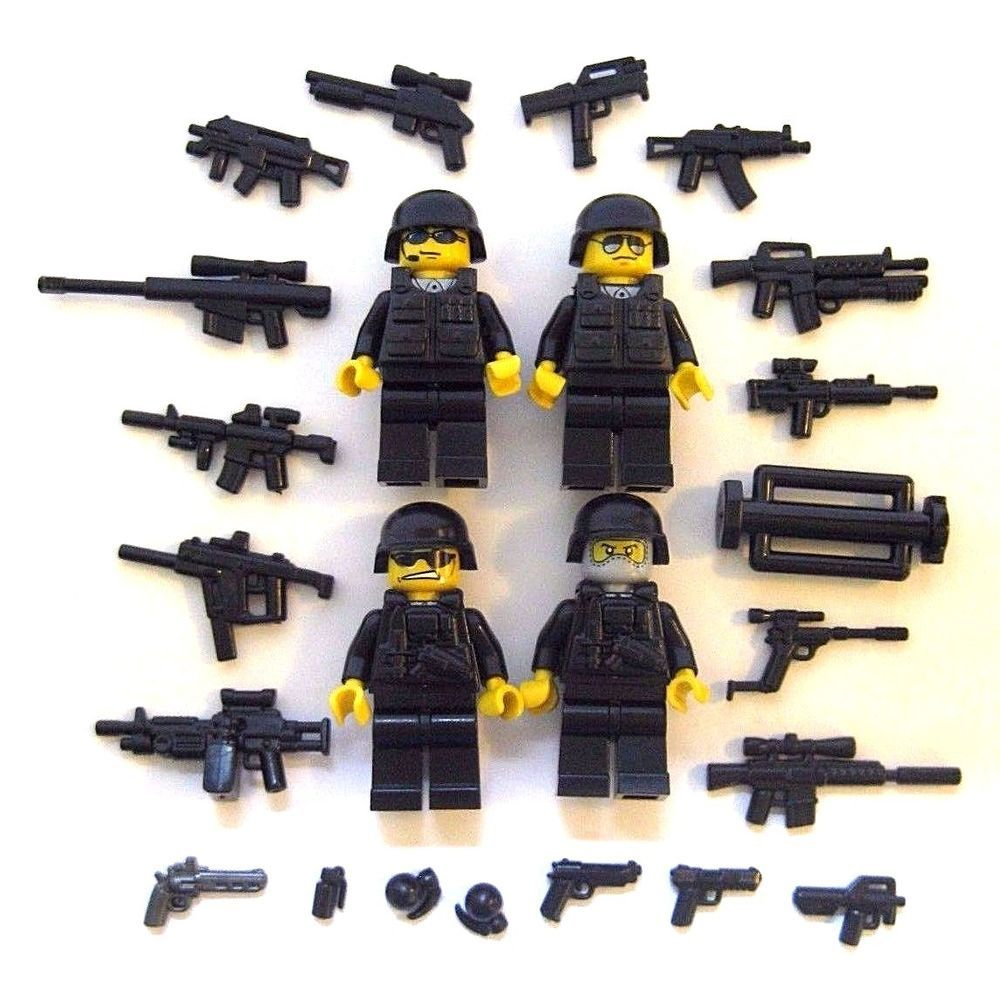 Details About Lego Custom Swat Team 4 Minifigures Plus Brickarms