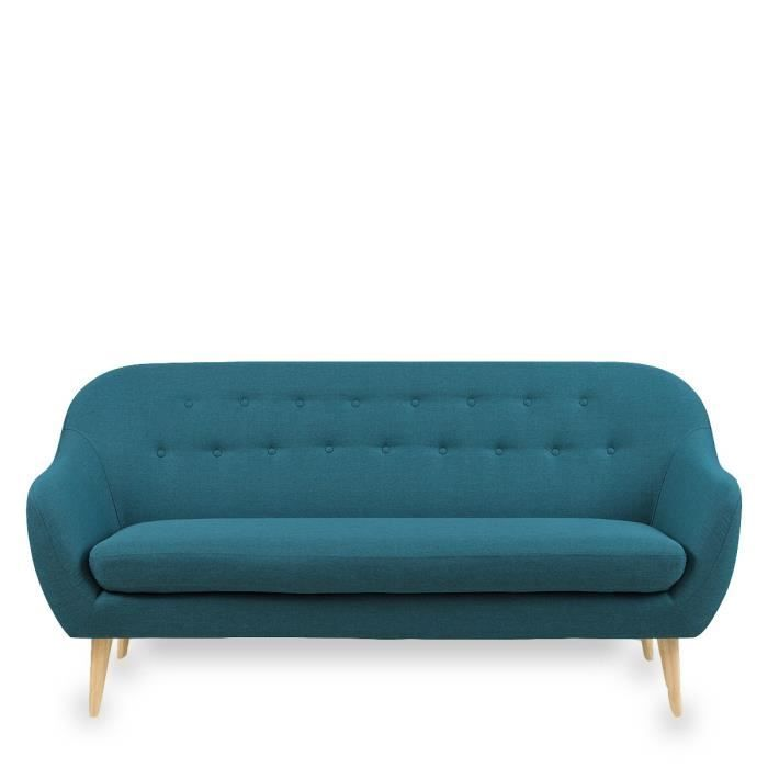 Canap sofa divan canap 3 places design scandinave for Salon canape bleu