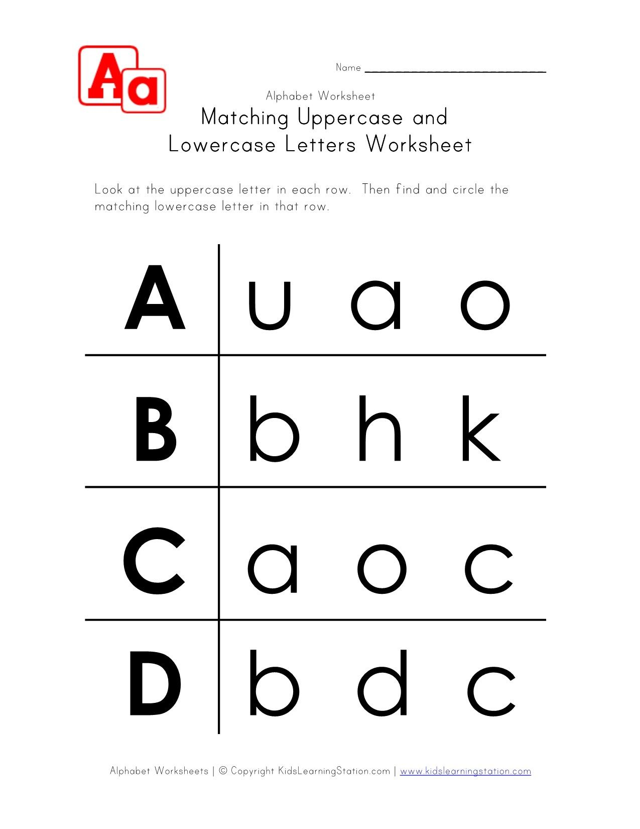 Uppercase And Lowercase Letters Worksheet A D Lowercase Letters Printable Uppercase And Lowercase Letters Lower Case Letters