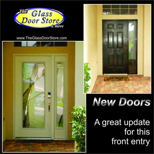 Replace The Plain Front Door With A Fiberglass Modern Door And Sidelight The Glass Door Store Exterior Entry Doors Glass Front Entry Doors Modern Door