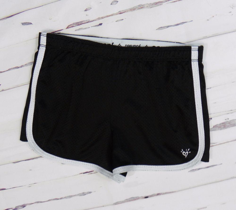 Justice Girl/'s Black Foil Stripe Compression Shorts Size 16 NWT