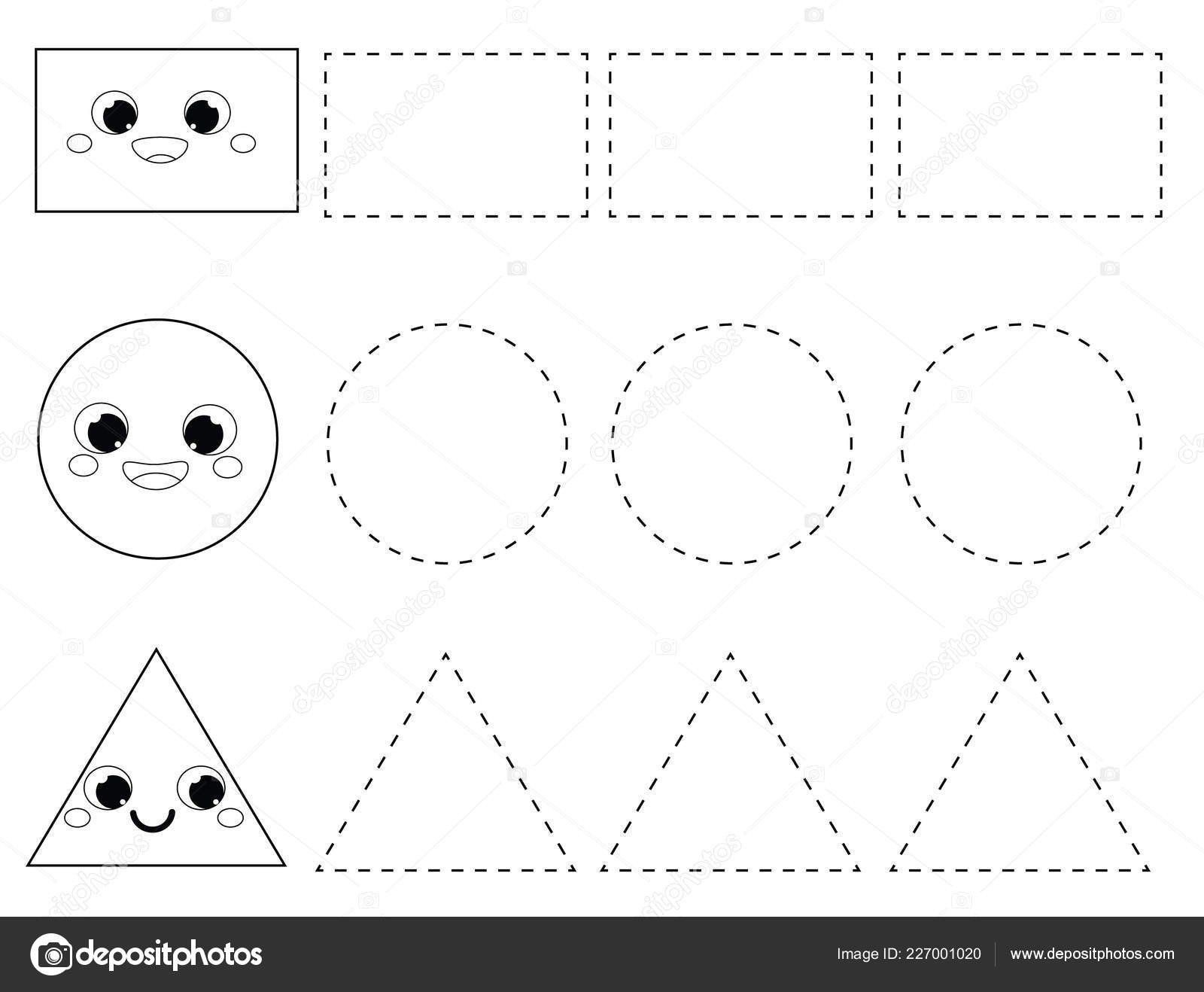 Rectangle Worksheet For Preschool Handwriting Practice