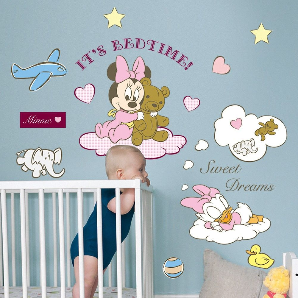 Disney Wall Decor minnie & mickey mouse disney wall stickers pink for baby rooms