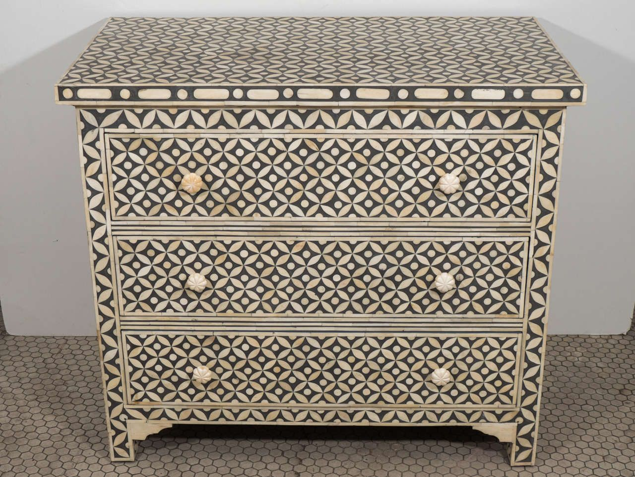 Indian Geometric, Inlaid Bone Bureau | From a unique collection of antique and modern dressers at http://www.1stdibs.com/furniture/storage-case-pieces/dressers/