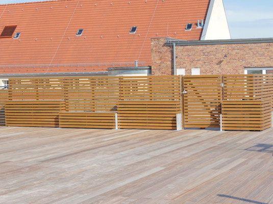 Balkon Sichtschutz Nach Mas , Sichtschutz Mit Pflanzkasten & Bank Aus Heimischem Holz Douglasie